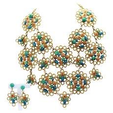 Huge Vintage Juliana for KJL Looped Metal Daisy Flower Faux Jade Coral Turquoise Cabochon Rhinestone Bib Necklace Dangle Earrings Demi Parure