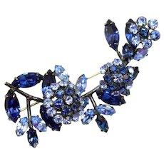 Vintage Schreiner Blue Rhinestone Trembler Triple Flower Brooch