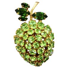 Vintage Schreiner Peridot Green Rhinestone Strawberry Apple Lime Fruit Brooch Book Piece
