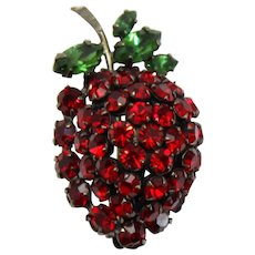 Vintage Schreiner Red Rhinestone Strawberry Brooch Book Piece