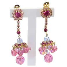 Vintage Juliana Fuchsia Pink Rhinestone and Pink and Blue AB Crystal Bead Dangle Earrings