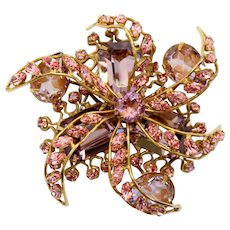 Vintage Schreiner Pink Lavender Rhinestone Art Glass Swirling Dimensional Flower Brooch
