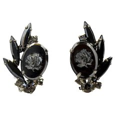 Vintage Juliana Hematite Rose Cameo Rhinestone Earrings
