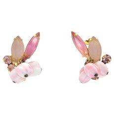 Vintage Juliana Pink Nugget Bead Frosted Rhinestone Earrings