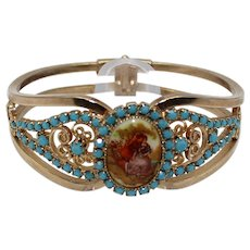 Vintage Juliana Turquoise Rhinestone Courting Couple Transfer Painted Cameo Heart Scroll Clamper Bracelet Book Piece