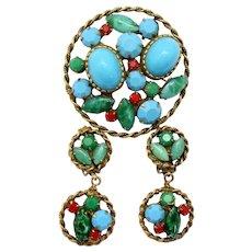 Vintage Juliana Faux Turquoise Jade Cabochon Red Rhinestone Pendant Brooch Dangle Earrings Demi Parure Book Piece
