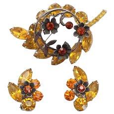 Vintage Juliana Topaz Rhinestone Metal Flower and Leaf Brooch and Earrings Demi Parure