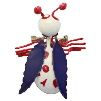 Vintage Metal Patriotic Red White Blue Painted Metal Bug Insect Brooch