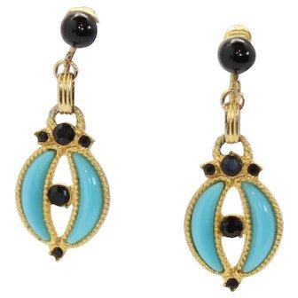 Vintage Juliana Turquoise Blue Plastic Crescent Shape Black Rhinestone Cabochon Dangle Earrings Book Piece