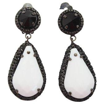 Vintage Schreiner Shoulder Duster White and Black Rhinestone Rhinestone Dangle Earrings
