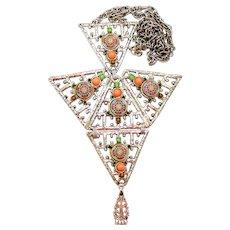Vintage Juliana Articulated Coral Moroccan Matrix Tie Rhinestone Cabochon Necklace Book Piece