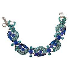 Vintage Juliana Blue Teal Rhinestone Ribbon Dangle Bracelet Book Piece