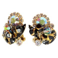 Juliana Black Gold Rhinestone Animal Print Bead Parure Earrings Book Piece