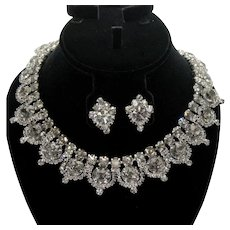 Vintage Juliana Gray Rhinestone Collar Necklace Earrings Demi Parure