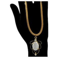 Vintage Juliana White Double Scooped Rhinestone Metal Loop Pendant Necklace