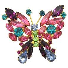 Vintage Juliana Pastel Blue Fuchsia Pink Peridot Green Teal Purple Rhinestone Butterfly Brooch