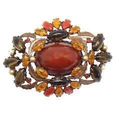 Vintage Schreiner Topaz Cabochon Rhinestone Copper Leaf Brooch