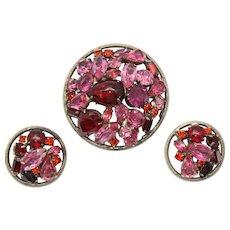 Vintage Pink Fuchsia Red Orange Rhinestone Metal Framed Brooch Earrings Demi Parure