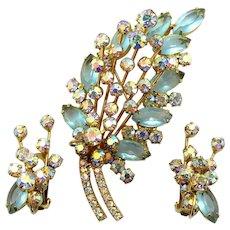 Vintage Juliana Aqua Blue and AB Rhinestone Spiky Brooch Earrings Demi Parure
