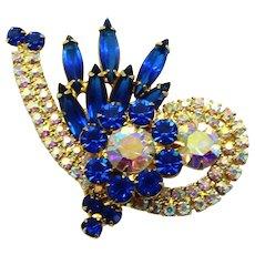 Vintage Juliana Capri Blue Rhinestone Swirl Brooch