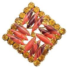 Vintage Juliana Striped Coral Glass Topaz Rhinestone Square Brooch