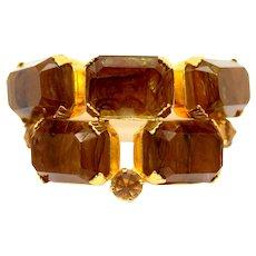 Vintage Signed Schreiner Tall Marbled Emerald Cut Topaz Rhinestone Brooch Scarf Clip