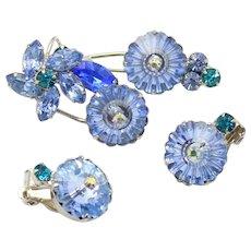 Vintage Juliana Blue Margarita Teal Rhinestone Flower Brooch Earrings Demi Parure