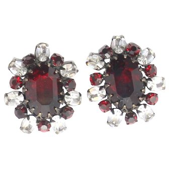 Vintage Schreiner Red Clear Rhinestone Earrings
