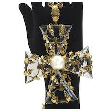 Vintage Schreiner Rare Crystal CROSS Pendant Necklace Vines Large Book Reference
