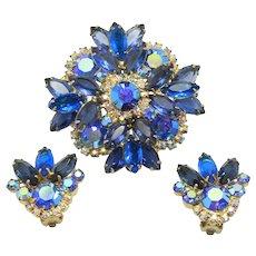 Vintage Juliana Blue AB Rhinestone Brooch Earrings Demi Parure