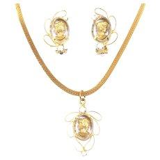Vintage Juliana Gold Intaglio Cameo White Rhinestone Metal Loop  Necklace Earrings Demi Parure