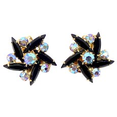 Vintage Juliana Black Navette AB Rhinestone Flower Earrings