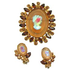 Vintage Juliana Topaz Rhinestone Iridescent Cameo Brooch Earrings Demi Parure Book Piece
