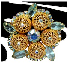 Vintage Juliana Aqua Blue Rhinestone Filigree Ball Brooch Book Piece