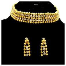 Vintage Juliana for KJL Rhinestone Ball Chain Dog Collar Necklace Dangle Earrings Demi Parure