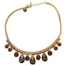 Vintage Juliana Topaz Bead  Olivine Crystal, AB Rhinestone Mesh Necklace