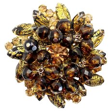 Vintage Juliana Gold Black Foiled Cats Eye Topaz Rhinestone and Mink Crystal Bead Brooch