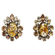Vintage Schreiner Topaz Color Changing Rhinestone Gold Foiled Cabochon Earrings