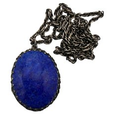 Vintage Schreiner Faux Blue Lapis Cabochon Locket Pendant Necklace