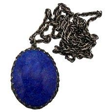 Vintage Schreiner Faux Blue Lapis Cabochon Locket Pendant Necklace