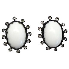 Vintage Schreiner White Cabochon Clear Rhinestone Button Earrings