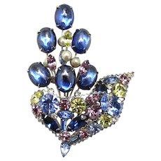 Vintage Hattie Carnegie Blue Cabochon  Lavender, Yellow, Blue Rhinestone Faux Pearl Abstract Flower Basket Brooch