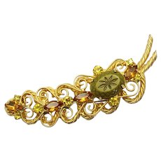 Vintage Juliana Topaz and Olivine Rhinestone Starburst S Scroll Twisted Metal Leaf Shaped Brooch Book Reference