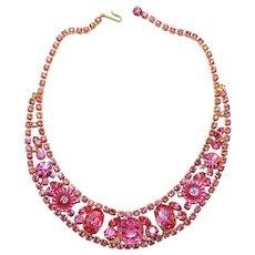 Vintage Juliana Pink Margarita Rhinestone Bib Necklace