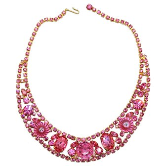 Vintage Juliana Pink Margarita Rhinestone Bib Necklace