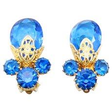 Vintage Juliana Blue Rhinestone Teardrop Bead Filigree Earrings Book Piece
