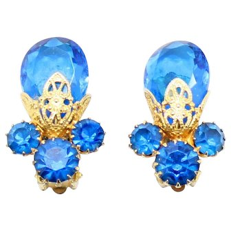 Vintage Juliana Blue Rhinestone Teardrop Bead Filigree Earrings Book Piece