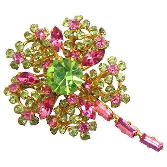 Vintage Pink and Peridot Green Rhinestone Flower Brooch
