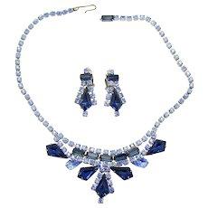 Vintage Juliana Blue Rhinestone Kite Baguette Necklace Dangle Earrings Demi Parure