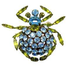 Vintage Schreiner Book Piece Trembler Blue Olivine Green Rhinestone Figural Sea Crab Brooch